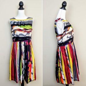 ELLEN TRACY Dress Multicolor Stripe Sleeveless, 10